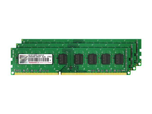 Transcend 6GB (3 x 2GB) 240-Pin DDR3 SDRAM DDR3 1333 (PC3 10600) Triple Channel Kit Desktop Memory Model TS1333KLU-6GK