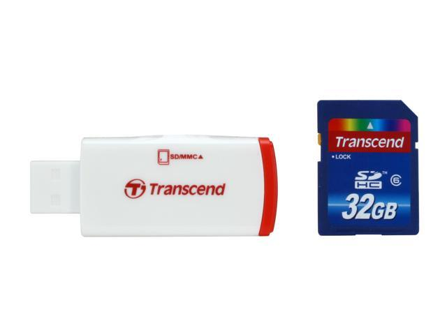 Transcend 32GB Secure Digital High-Capacity (SDHC) Flash Card w/ P2 Card Reader Model TS32GSDHC6-P2
