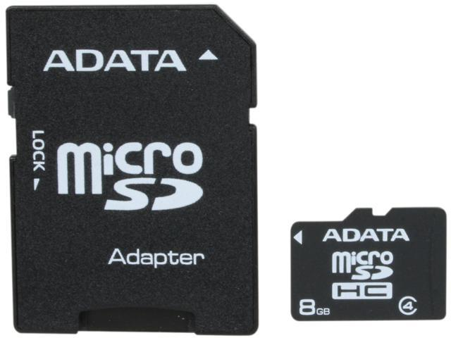 ADATA 8GB Class 4 Micro SDHC Flash Card with Adapter Model AUSDH8GCL4-RA1