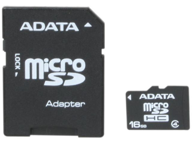 ADATA 16GB microSDHC Flash Card with Adapter Model AUSDH16GCL4-RA1