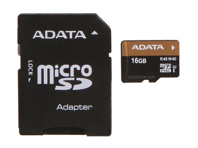 ADATA Premier Pro 16GB microSDHC Flash Card w/Adapter Model AUSDH16GUI1-RA1