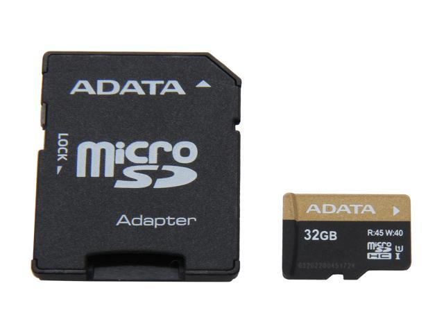 ADATA Premier Pro 32GB microSDHC Flash Card w/Adapter Model AUSDH32GUI1-RA1