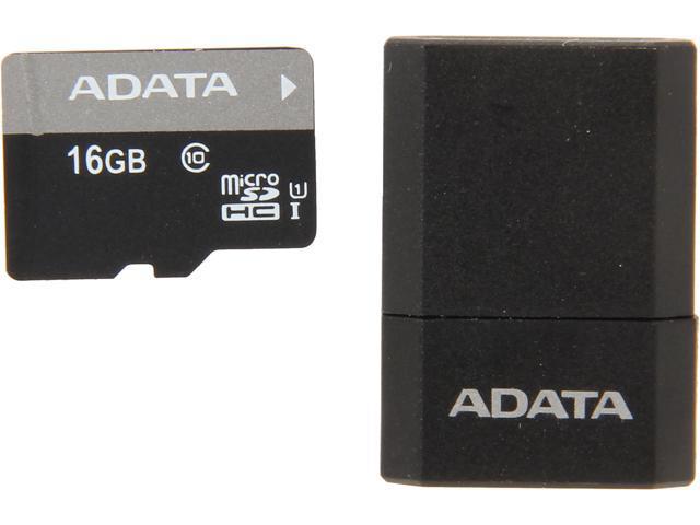 ADATA Premier 16GB microSDHC Class 10 Flash Card with MicroReader Model AUSDH16GUICL10-RM3BKBL