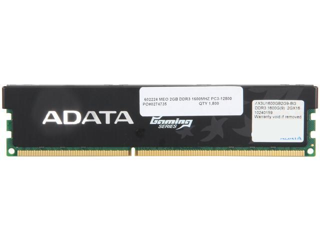 ADATA Gaming Series 2GB 240-Pin DDR3 SDRAM DDR3 1600 (PC3 12800) Desktop Memory Model AX3U1600GB2G9-1G