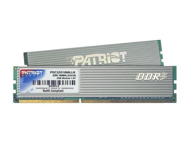 Patriot Extreme Performance 2GB (2 x 1GB) 240-Pin DDR3 SDRAM DDR3 1866 (PC3 15000) Dual Channel Kit Desktop Memory Model PDC32G1866LLK