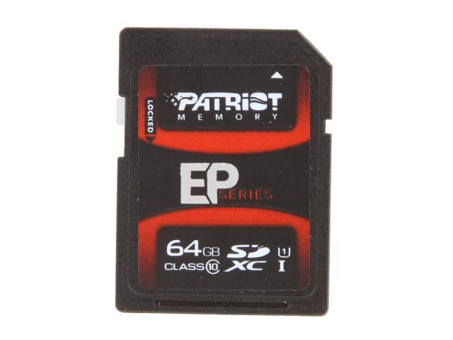 Patriot EP Series 64GB Secure Digital Extended Capacity (SDXC) Flash Card Model PEF64GSXC10233