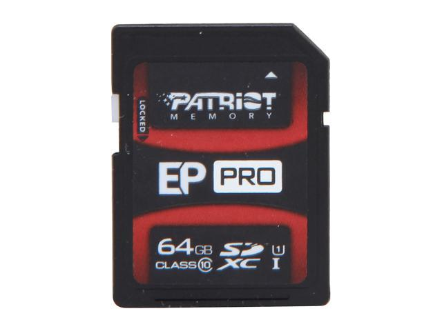 Patriot EP Pro Series 64GB Secure Digital Extended Capacity (SDXC) Flash Card Model PEF64GSXC10333
