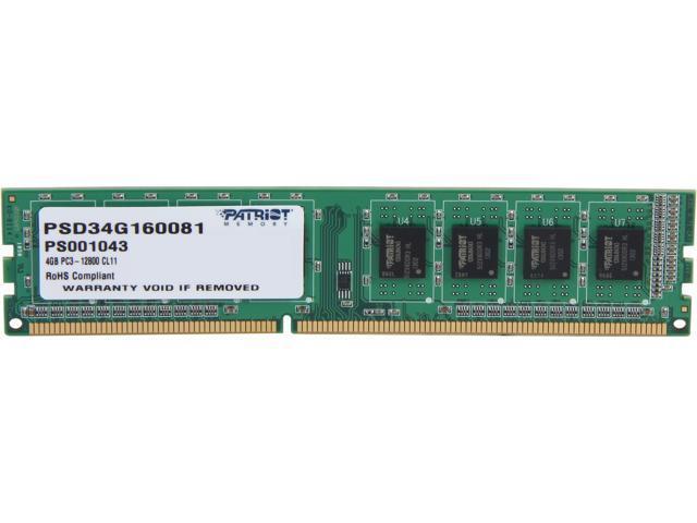 Patriot 4GB 240-Pin DDR3 SDRAM DDR3 1600 (PC3 12800) Desktop Memory Model PSD34G160081