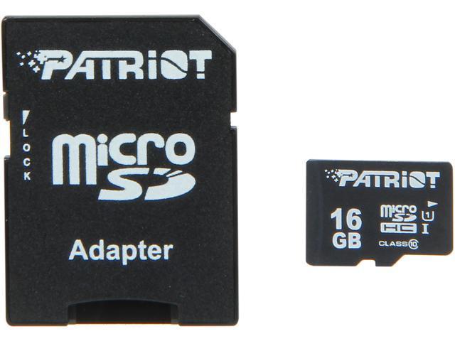 Patriot LX Pro Series 16GB microSDHC Flash Card Model PSF16GMCSHC10BK