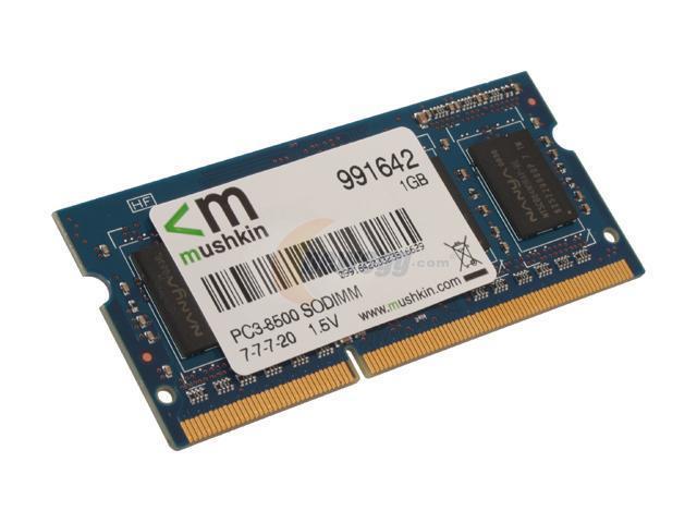 Mushkin Enhanced 1GB 204-Pin DDR3 SO-DIMM DDR3 1066 (PC3 8500) Laptop Memory Model 991642