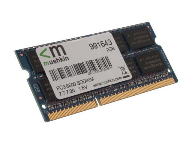 Mushkin Enhanced Essentials 2GB 204-Pin DDR3 SO-DIMM DDR3 1066 (PC3 8500) Laptop Memory Model 991643