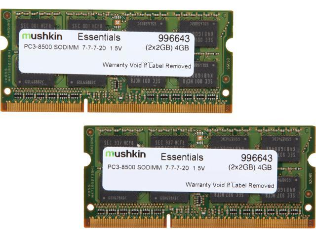 Mushkin Enhanced Essentials 4GB (2 x 2GB) 204-Pin DDR3 SO-DIMM DDR3 1066 (PC3 8500) Laptop Memory Model 996643