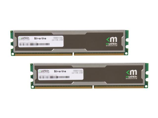 Mushkin Enhanced Silverline 2GB (2 x 1GB) 240-Pin DDR2 SDRAM DDR2 667 (PC2 5300) Desktop Memory Model 996755