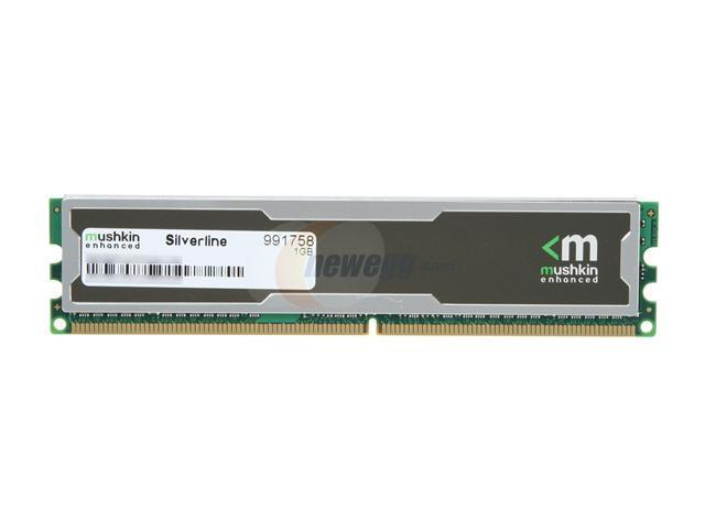 Mushkin Enhanced Silverline 1GB 240-Pin DDR2 SDRAM DDR2 800 (PC2 6400) Desktop Memory Model 991758