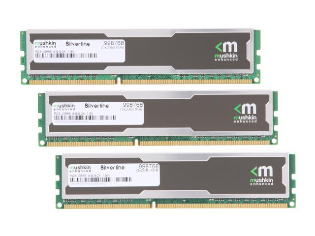 Mushkin Enhanced Silverline 6GB (3 x 2GB) 240-Pin DDR3 SDRAM DDR3 1333 (PC3 10666) Desktop Memory Model 998768