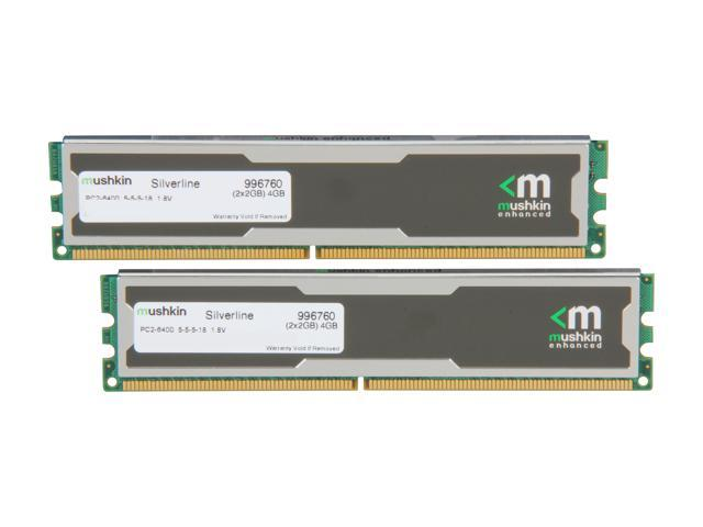 Mushkin Enhanced Silverline 4GB (2 x 2GB) 240-Pin DDR2 SDRAM DDR2 800 (PC2 6400) Desktop Memory Model 996760