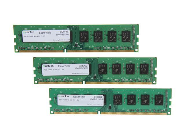Mushkin Enhanced Essentials 12GB (3 x 4GB) 240-Pin DDR3 SDRAM DDR3 1333 (PC3 10666) Desktop Memory Model 998769