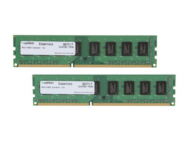 Mushkin Enhanced Essentials 16GB (2 x 8GB) 240-Pin DDR3 SDRAM DDR3 1333 (PC3 10600) Desktop Memory Model 997017