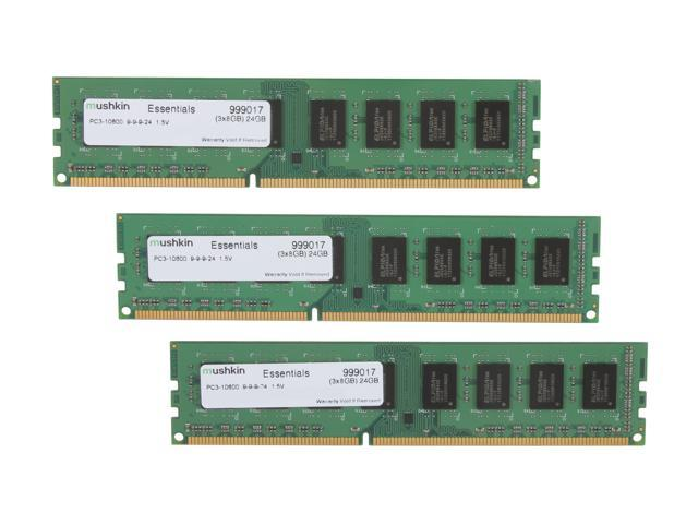 Mushkin Enhanced Essentials 24GB (3 x 8GB) 240-Pin DDR3 SDRAM DDR3 1333 (PC3 10600) Desktop Memory Model 999017