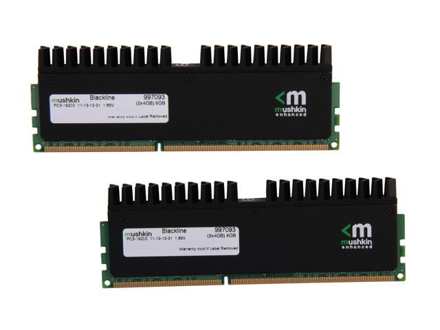 Mushkin Enhanced Blackline 8GB (2 x 4GB) 240-Pin DDR3 SDRAM DDR3 2400 (PC3 19200) Desktop Memory Model 997093