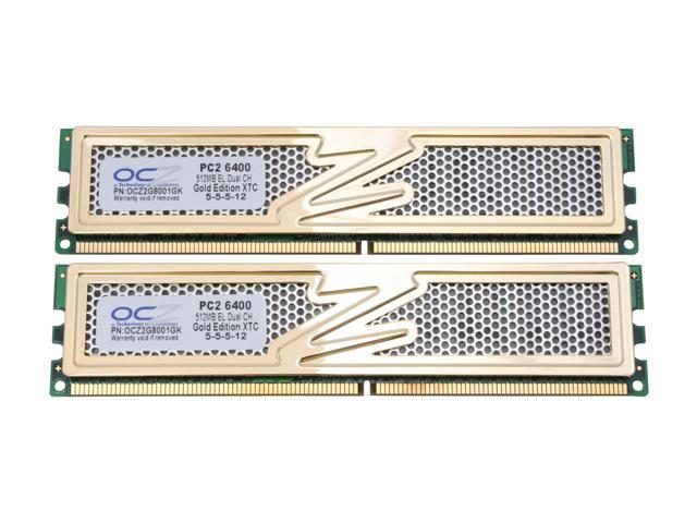 OCZ Gold GX XTC 1GB (2 x 512MB) 240-Pin DDR2 SDRAM DDR2 800 (PC2 6400) Dual Channel Kit Desktop Memory Model OCZ2G8001GK