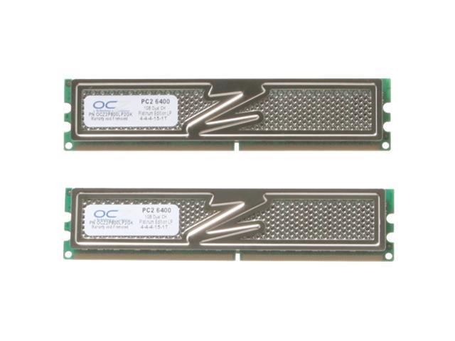 OCZ Platinum DFI Special 2GB (2 x 1GB) 240-Pin DDR2 SDRAM DDR2 800 (PC2 6400) Dual Channel Kit Desktop Memory LAN PARTY Optimized Model OCZ2P800LP2GK