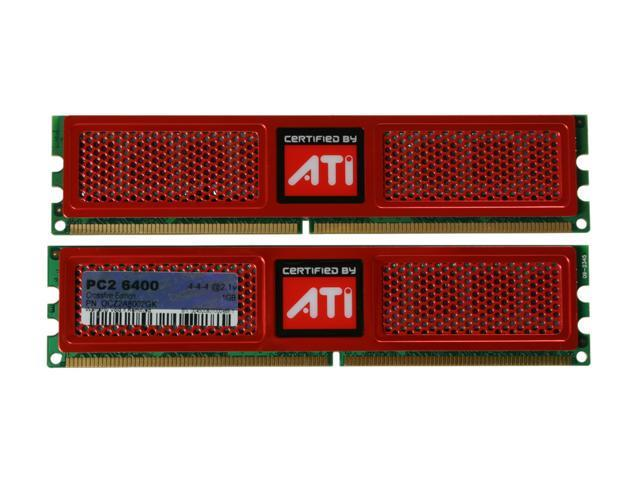 OCZ ATI CrossFire 2GB (2 x 1GB) 240-Pin DDR2 SDRAM DDR2 800 (PC2 6400) Dual Channel Kit Desktop Memory Model OCZ2A8002GK