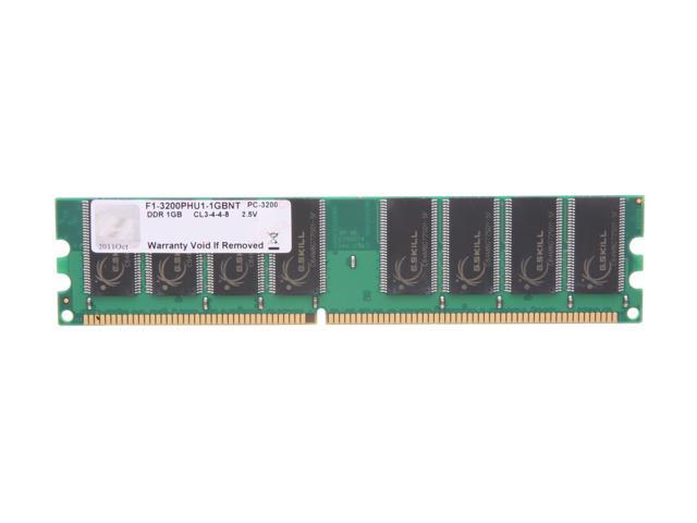 G.SKILL Value 1GB 184-Pin DDR SDRAM DDR 400 (PC 3200) Desktop Memory Model F1-3200PHU1-1GBNT