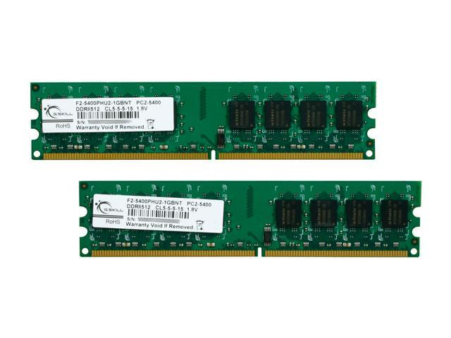 G.SKILL 1GB (2 x 512MB) 240-Pin DDR2 SDRAM DDR2 667 (PC2 5400) Dual Channel Kit Desktop Memory Model F2-5400PHU2-1GBNT