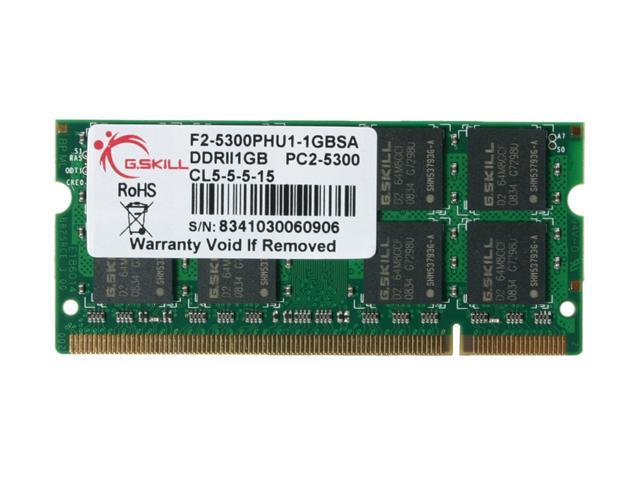 G.SKILL 1GB 200-Pin DDR2 SO-DIMM DDR2 667 (PC2 5300) Laptop Memory Model F2-5300PHU1-1GBSA