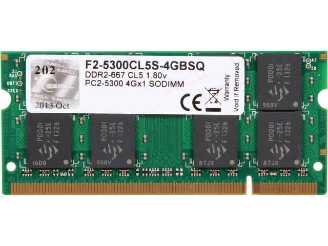 G.SKILL 4GB 200-Pin DDR2 SO-DIMM DDR2 667 (PC2 5300) Laptop Memory Model F2-5300CL5S-4GBSQ