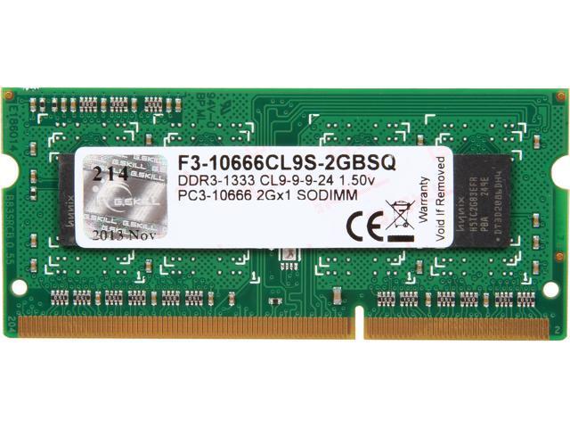G.SKILL 2GB 204-Pin DDR3 SO-DIMM DDR3 1333 (PC3 10666) Laptop Memory Model F3-10666CL9S-2GBSQ