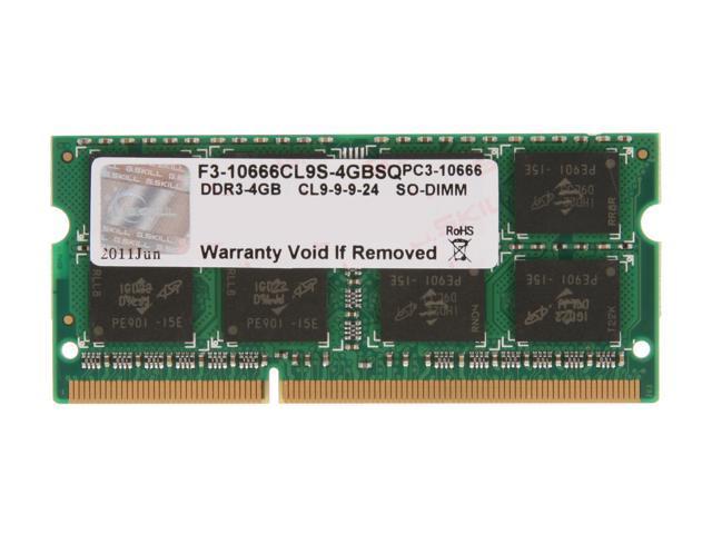 G.SKILL 4GB 204-Pin DDR3 SO-DIMM DDR3 1333 (PC3 10666) Laptop Memory Model F3-10666CL9S-4GBSQ