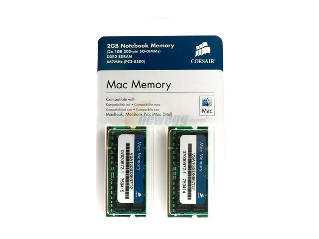 CORSAIR 2GB (2 x 1GB) DDR2 667 (PC2 5300) Dual Channel Kit Memory for Apple Notebook Model VSA2GSDSKIT667D2