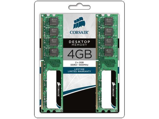 CORSAIR 4GB (2 x 2GB) 240-Pin DDR2 SDRAM DDR2 800 (PC2 6400) Desktop Memory Model VS4GBKIT800D2