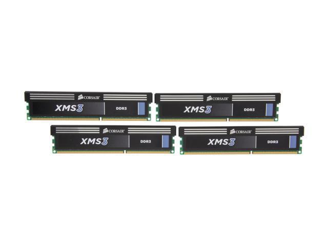 CORSAIR XMS3 16GB (4 x 4GB) 240-Pin DDR3 SDRAM DDR3 1600 (PC3 12800) Desktop Memory Model CMX16GX3M4A1600C9
