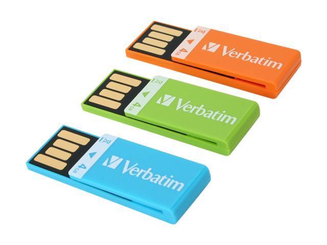Verbatim Clip-it 12GB (4GB x 3) USB 2.0 Flash Drive (Orange, Blue, Green) Model 97563