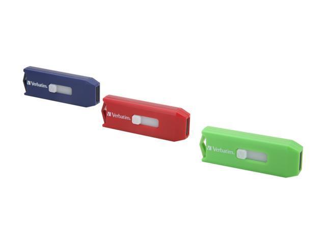 Verbatim Store 'n' Go 12GB (4GB x 3) USB 2.0 Flash Drive (Green, Blue & Red) Model 97002