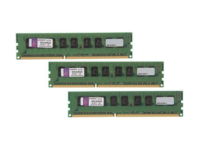 Kingston 6GB (3 x 2GB) 240-Pin DDR3 SDRAM ECC Unbuffered DDR3 1333 Server Memory  Intel Model KVR13E9K3/6I