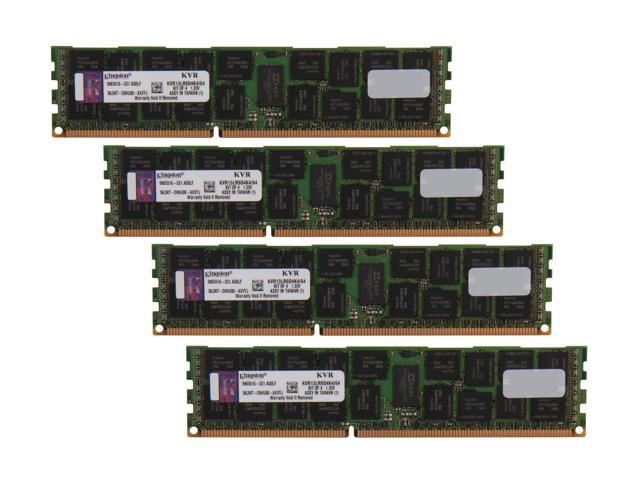 Kingston 64GB (4 x 16GB) 240-Pin DDR3 SDRAM ECC Registered DDR3 1333 Server Memory DR x4 1.35V Model KVR13LR9D4K4/64