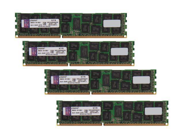 Kingston 64GB (4 x 16GB) 240-Pin DDR3 SDRAM ECC Registered DDR3 1333 Server Memory DR x4 1.35V Intel Model KVR13LR9D4K4/64I