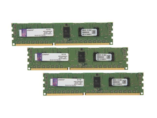 Kingston ValueRAM 6GB (3 x 2GB) 240-Pin DDR3 SDRAM ECC Registered DDR3 1333 Server Memory SR x8 1.35V Model KVR13LR9S8K3/6