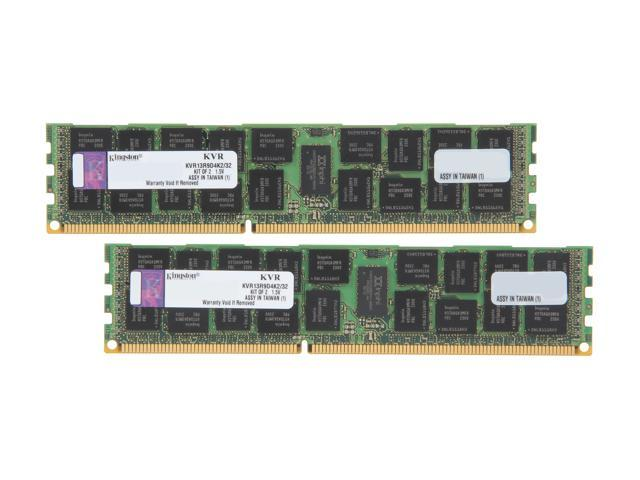 Kingston 32GB (2 x 16GB) 240-Pin DDR3 SDRAM ECC Registered DDR3 1333 Server Memory DR x4 Model KVR13R9D4K2/32