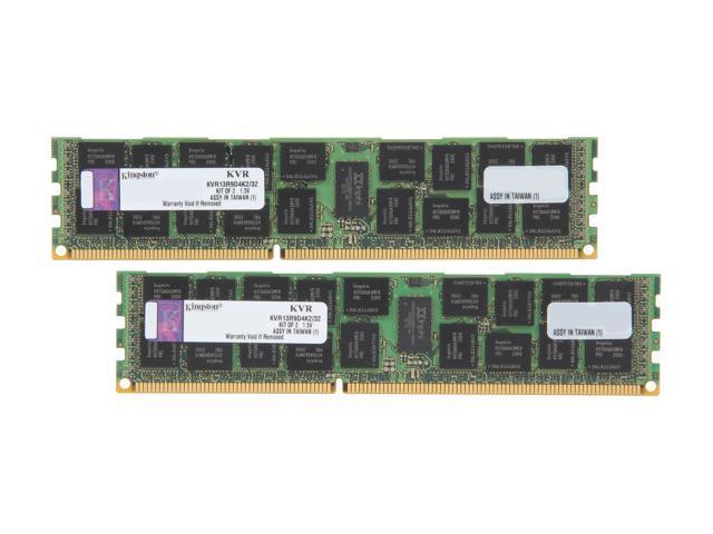 Kingston 32GB (2 x 16GB) 240-Pin DDR3 SDRAM ECC Registered DDR3 1333 Server Memory DR x4 Model KVR13R9D4K2/32
