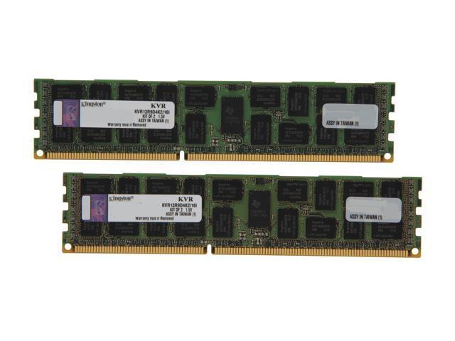 Kingston 16GB (2 x 8GB) 240-Pin DDR3 SDRAM ECC Registered DDR3 1333 Server Memory DR x4 Intel Model KVR13R9D4K2/16I