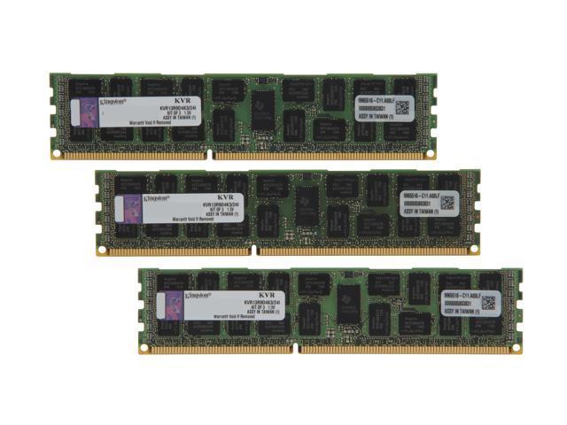 Kingston 24GB (3 x 8GB) 240-Pin DDR3 SDRAM ECC Registered DDR3 1333 Server Memory DR x4 Intel Model KVR13R9D4K3/24I
