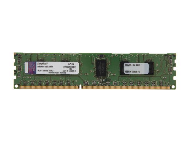 Kingston 2GB 240-Pin DDR3 SDRAM ECC Registered DDR3 1600 (PC3 12800) Server Memory SR x8 Model KVR16R11S8/2