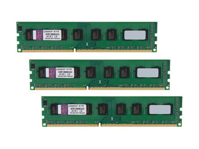Kingston ValueRAM 24GB (3 x 8GB) 240-Pin DDR3 SDRAM DDR3 1333 Desktop Memory Model KVR13N9K3/24