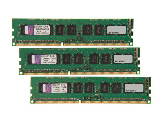Kingston 24GB (3 x 8GB) 240-Pin DDR3 SDRAM ECC Unbuffered DDR3 1600 Server Memory w/TS Intel Model KVR16E11K3/24I