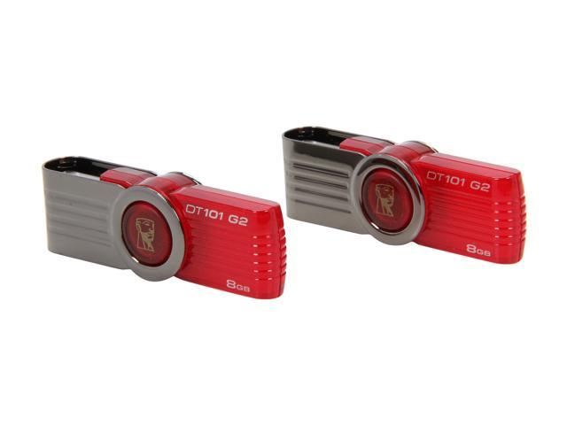 Kingston DataTraveler 101 G2 8GB USB 2.0 Flash Drive Twin Pack (2pcs) Model DT101G2/8GBZ-2P